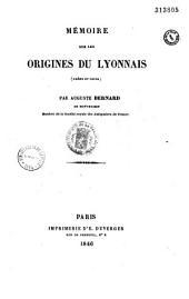 Mémoire sur les origines du Lyonnais