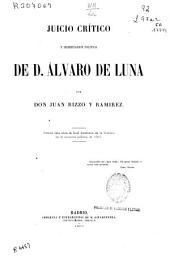 Juicio crítico y significación política de d. Alvaro de Luna