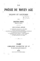 La poésie du moyen âge: leçons et lectures