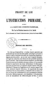 Projet de loi sur l'instruction primaire, soumis à la Société pour l'instruction élémentaire