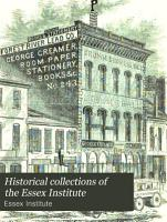 Historical Collections of the Essex Institute PDF
