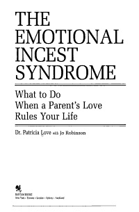 The Emotional Incest Syndrome PDF