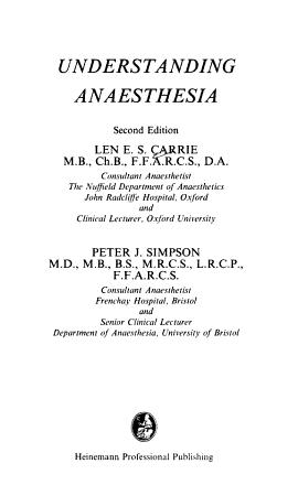 Understanding Anaesthesia PDF