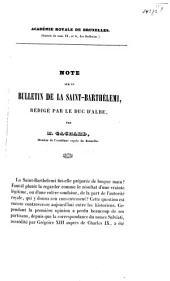 Note sur un bulletin de la Saint-Barthélemi ...