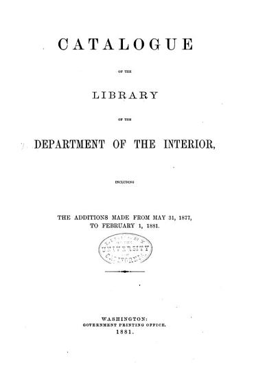 Catalogue of the Library of the Department of the Interior PDF