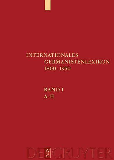 Internationales Germanistenlexikon 1800 1950 PDF