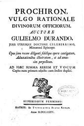Prochiron, vulgo rationale divinorum officiorum