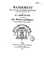 Mandement de Son Em. Mgr le Cardinal De Bonald, Archevêque de Lyon et de Vienne, à l'occasion du Carême de 1852, pour ordonner des prières publiques, selon les intentions du Souverain Pontife