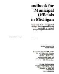 Handbook for Municipal Officials in Michigan PDF