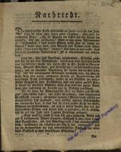 Nachricht. Die philosphische Klasse wiederholte im Jahre 1797 ... die ... Frage