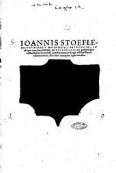 Ioannis Stoefleri ... In Procli Diadochi, authoris grauissimi Sphaeram mundi, omnibus numeris longè absolutissimus commentarius