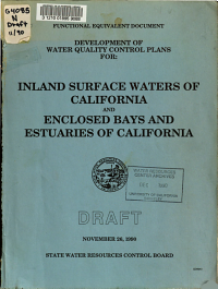 Development of Water Quality Control Plans for