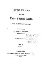 Specimens of the Later English Poets: With Preliminary Notices, Volume 1