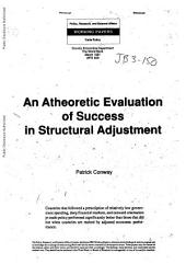 An Atheoretic Evaluation of Success in Structural Adjustment: Volume 629