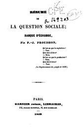 Resumé de la question sociale: Banque d'échange