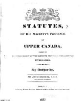 The Statutes of Upper Canada