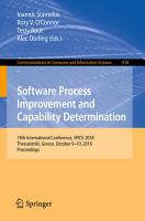 Software Process Improvement and Capability Determination PDF