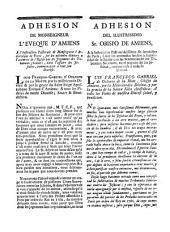 Adhesion de monseigneur l'eveque d'Amiens a l'instruction pastorale de monseigneur l'archevêque de Paris, sur les atteintes données a l'autorité de l'Eglise par les jugemens des tribunaux seculiers, dans l'affaire des Jesuites, communiquée a tout son diocèse