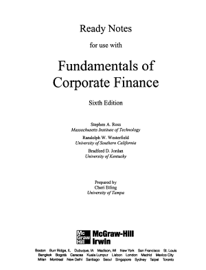 Ready Notes for Use with Fundamentals of Corporate Finance PDF