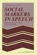 Social Markers in Speech