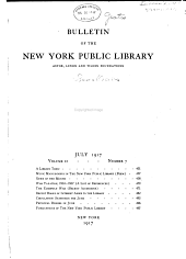Bulletin of the New York Public Library: Volume 21