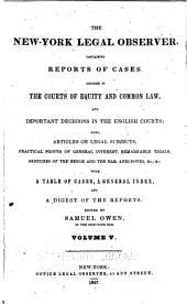 The New-York Legal Observer: Volume 5
