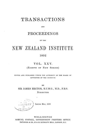 Transactions of the Royal Society of New Zealand PDF