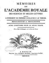 Mémoires de l'Académie royale des sciences et belles
