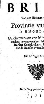 Brief van een edelman uyt de provintie van Kent, in Engeland