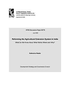 Reforming the Agricultural Extension System in India  What Do We Know About What Works Where and Why  Book