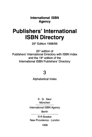 Publishers  International ISBN Directory