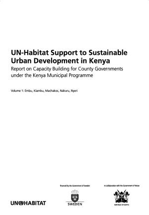 UN Habitat Support to Sustainable Urban Development in Kenya  Embu  Kiambu  Machakos  Nakuru  Nyeri PDF