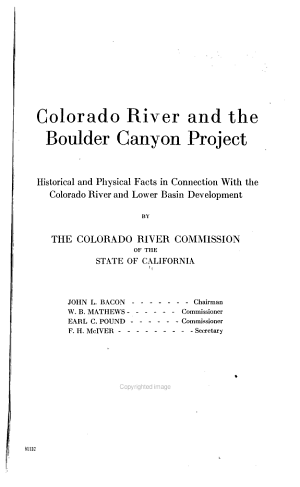 Colorado River and the Boulder Canyon Project