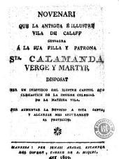 Novenari que la antigua é illustre vila de Calaff consagra á la sua filla y patrona Sta. Calamanda, verge y martyr