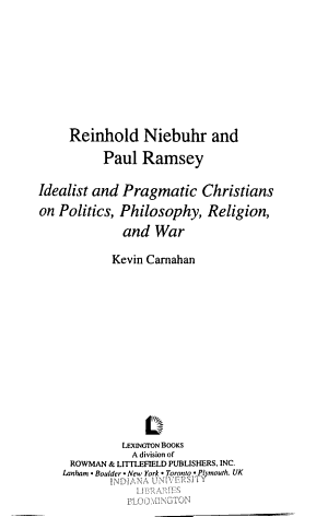 Reinhold Niebuhr and Paul Ramsey PDF