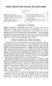 The Agricultural situation for 1918: a series of statements prepared under the direction of the Secretary of Agriculture. Dairying : dairy production should be maintained, Part 2