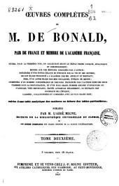 Oeuvres complètes de Louis Bonald: -Vol. 3