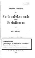 Kritische Geschichte der National  konomie und des Socialismus PDF