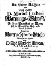 Warnungs-Schrifft an die zu Franckfurt a. M., sich für Zwinglisch Lere und Lernen zu hüten: Sampt einem Unterricht von der Beicht