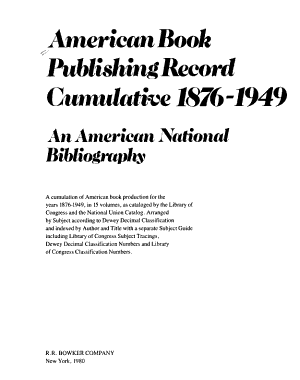 American book publishing record cumulative  1876 1949