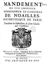 Mandement de Mgr. l'archevêque de Paris, touchant les Instructions de Saint-Charles aux confesseurs