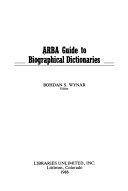 ARBA Guide to Biographical Dictionaries PDF