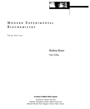 Modern Experimental Biochemistry PDF