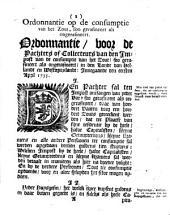 Fruyten. Ordonnantie van de heeren Staaten van Hollandt en Westvrieslandt, waar na [...] sal werden betaalt den impost op de fruyten. Innegaande den eersten april 1735