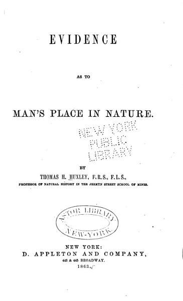 Download Evidence as to Man s Place in Nature Book