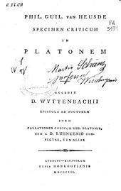 Phil. Guil. Van Heusde Specimen criticum in Platonem