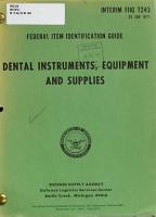 Dental Instruments  Equipment and Supplies PDF
