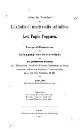 Ueber das verhältnis der lex Iulia de maritandis ordinibus zur lex Papia Poppaea