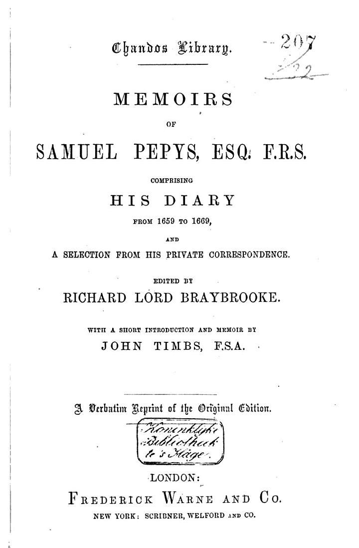 Memoirs of Samuel Pepys ...