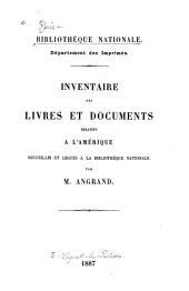 Inventaire des livres et documents relatifs a l'Amerique